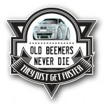 Koolart OLD BEEMERS NEVER DIE Motif For Silver BMW E46 3 series M3 External Vinyl Car Sticker Decal Badge 100x100mm